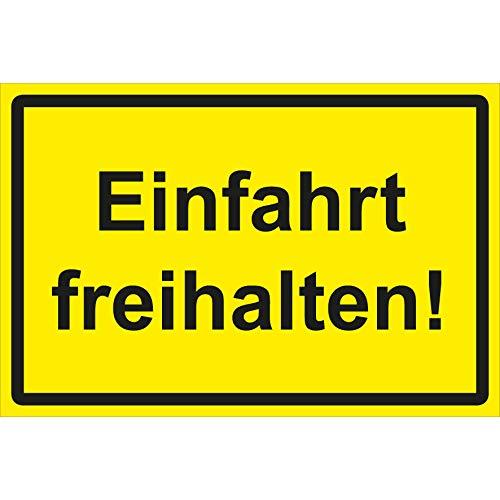 Einfahrt freihalten Schild 30 x 20 cm Hartschaumplatte 3mm dick Ausfahrt freihalten Schild Parken verboten Schild Halteverbot Gelb