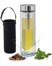 Relaxdays 10027638 - Botella de té con infusor, 500 ml, Botella de Agua para Llevar con Aislamiento, Bolsa de Neopreno, Tetera de Cristal de borosilicato, Transparente