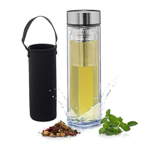 Relaxdays Teeflasche mit Sieb, 500 ml, Trinkflasche to go, isoliert, Neoprentasche, Teebereiter, Borosilikatglas, klar