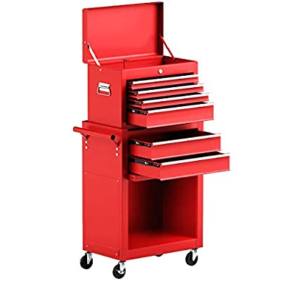 Goplus 6-Drawer Rolling Tool Chest Removable Tool Storage Cabinet with Sliding Drawers, Keyed Locking System Toolbox Organizer (Red)