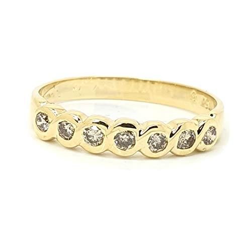 Anello Eternity in oro giallo massiccio da 18 ct, con 7 diamanti rotondi certificati 100% naturali da 0,40 carati. e Oro giallo, 56 (17.8), colore: bianco, cod. HDR0459.8