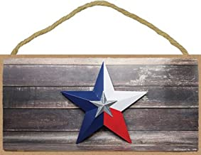 SJT ENTERPRISES, INC. Texas - Red, White, and Blue Star in Front of Grey Distressed Wood Background 5
