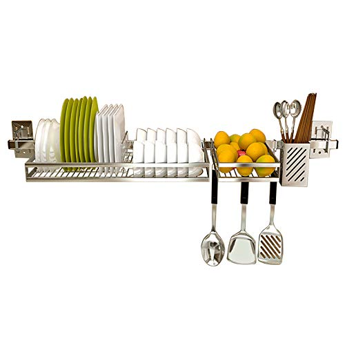 Over The Sink Dish Drying Rack Colture Hanging Stainless Steel Dish Drainer Dryer Rack with Knife Utensil Holder Hooks Space Saver for Kitchen Supplies Storage Organizer Shelf Counter Top Silver