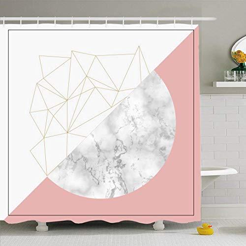 Conjunto de cortina de ducha con ganchos Elemento de collage moderno Mínimo mármol abstracto Catálogo de moda Catálogo Diseño de concepto vintage Tela de poliéster impermeable Decoración de baño para