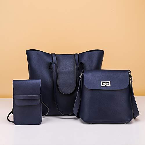 Bolsas de Hombro del Bolso 3 en 1 de Hombro Ocasional de la PU Las señoras de Bolso del Mensajero del Bolso (Color: Azul) SHIYUE