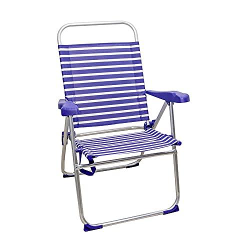 Arcoiris Sillas de Playa 5 Posiciones textileno, Silla de Playa Portátil, Plegable, Aluminio, Reclinable (1 Unidad, Rayas Azul Oscuro y Blanco)