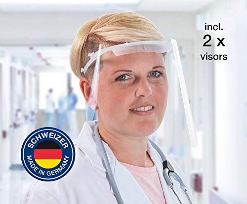 Gesichtsschutz, Augenschutz, Spuckschutz, Schutzausrüstung, Face Shield, PSA (EU) 2016/425: DIN EN 166, INFEKT-Protect Shield med von SCHWEIZER inkl. 2 PET-Visierfolien, Made in Germany