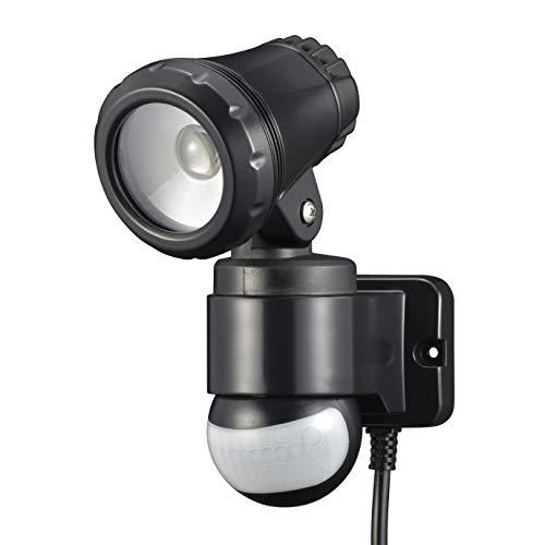 オーム電機 リモコン付きLEDセンサーライト(1灯/650lm/コンセント式/保護等級IP44[防まつ]/ブラック) RF-LS650