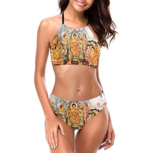 Buddha's Words Womens Bathing Suits Bikini Two Piece Swimsuits Women's Bikini Set Halter Black
