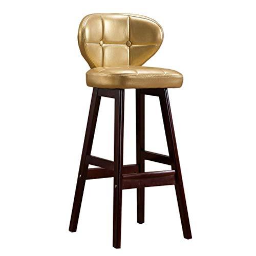 Gummi-Holzbarhocker Stuhl mit Ergonomics Rückenlehne und Fußstütze | Faux Leder-Kissen Frühstück Stühle für Pub/Kitchen Bar Stools | Max Load 200kg,Brown,65cm
