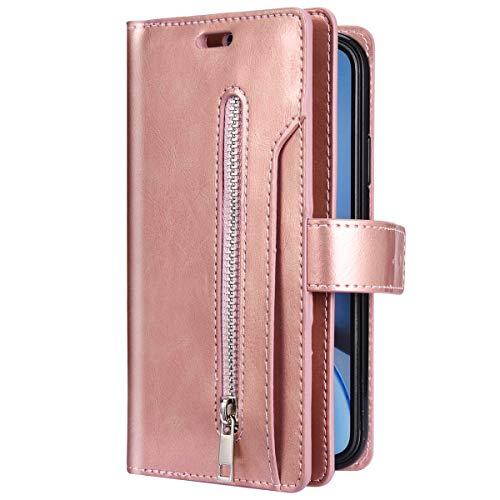 Uposao Kompatibel mit Samsung Galaxy J4 Plus 2018 Hülle Multifunktional Reißverschluss Leder Flip Schutzhülle 9 Kartenfächer Handyhülle Brieftasche Wallet Case Tasche Handytasche Magnet,Rose Gold