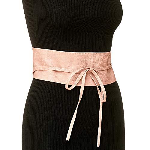 JillyMode Damen hübischer Taillengürtel mit Spitze oder Leder Optik zum Binden viele Farben auswählbar (H245-PU-Rosa)