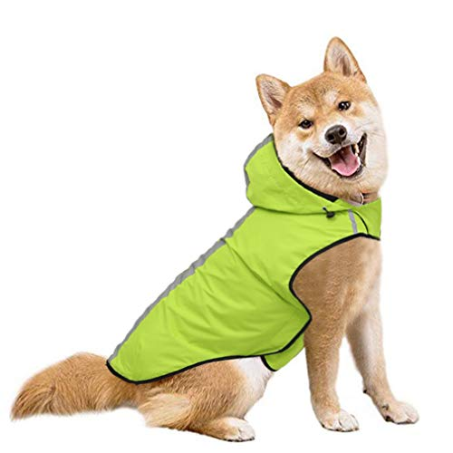 SENYEPETS Waterproof Dog Raincoat, Lightweight Packable Jacket with Reflective Stripes for High Visibility Safety, Adjustable Hood Poncho for Small Medium Large Dogs (S, Green)