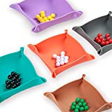 Collapsible Board Game Storage Bowls, Portable Folding Tray Accessory Holds Tabletop Bits, Components, Pieces, Dices for Classic & Modern Gaming, RPG Roleplaying(5-Pack)