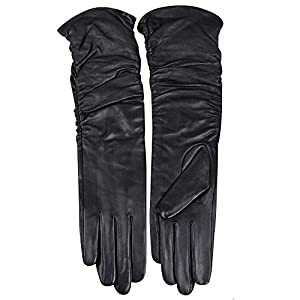 Womens Winter Long Evening Dress Texting Touchscreen Leather Gloves Sleeves Fleece Lined Ruched Elbow Length Costume
