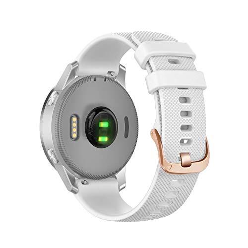 Abanen Silicone Watch Bands for Garmin Vivoactive 4S / Venu 2S, Soft Sport 18mm Quick Release Waterproof Replacement Wristband Strap for Fossil Q Venture Gen 4/Gen 3 (White)