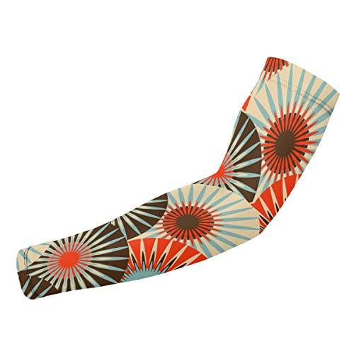 SURERUIM Arm-Ärmel,Asian Style Fans Blumen Fliese in roten und braunen Farben,Armwärmer Ärmlinge Kompression Bandage rutschfest Anti UV Running Radsport für Damen Herren 1 Paar