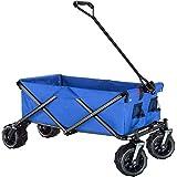 MLI Carrello Offroad Carretto da Giardino Campeggio 4 Ruote 96451B, Pieghevole, per Esterni, Bagagli, Valige, Ruote Fuoristrada, Colore Blu