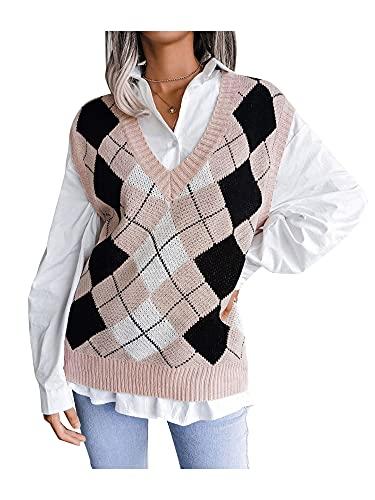 FINENDSUNNY Chaleco de suéter de Argyle para Mujer, Chaleco de Punto de Gran tamaño Informal Y2K, Jersey de Cable con Cuello en V de Muy Buen Gusto para niñas, Chaleco de Punto, Tops (A Rosado, L)