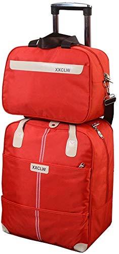 Bruikbaar zoon en moeder trolley-tas bagagetas trolley tas + handtas artikelopbergtas schoudertas - waterdichte zonbescherming kan zijn bord (kleur: A # rood maat: 45L) d