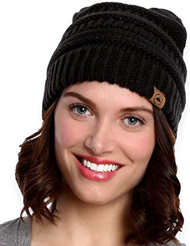 Tough Headwear Womens Cable Knit Beanie - Warm & Soft Stretch Winter Hats for Cold Weather Black