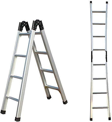 GUOXY Multifunktions-Trittschemel Thick-Leiter Aus Aluminium Startseite Kliter, Teleskop 1.5M Ausklappen 3M Einzel Leiter, Multi-Funktions-Leiter Küche Büro Außen