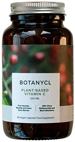 Natural Vitamin C by Botanycl | Immune Support & Skin Health | with Camu Camu, Rosehip, Citrus Bioflavonoids and Black Elderberry.