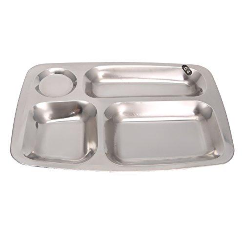 1 plato de cena, 4/5/6 29 x 21 x 2,5 cm, 34,5 x 25,5 x 2,5 cm, bandeja dividida de acero inoxidable para almuerzo, plato de comida para estudiantes de picnic