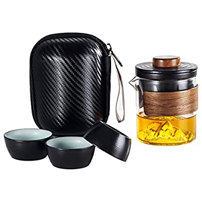 Lyty Portable Travel Tea Set with Tea Infuser, Glass Teapot and Porcelain Tea Cup Set Traditional Japanese Ceramic Tea Set with Handbag for Travel Outdoor Camping Picnic (Black)