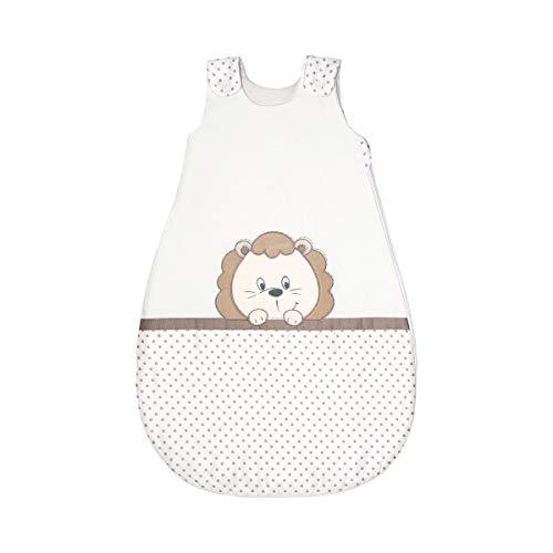 Bornino Home Ganzjahresschlafsack Leon & Co. - größenverstellbarer Baby-Schlafsack mit niedlichem Löwenmotiv & Zipper - ab 9 Monate - beige/natur
