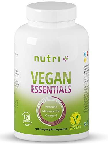 Veganer Multinährstoff - Vitamine & Mineralstoffe - Vitamin-Kapseln Vegan Essentials - Complete Präparat - Nutri-Plus Daily Multivitamin mit Vitamin B12 D3 Eisen Selen Omega-3
