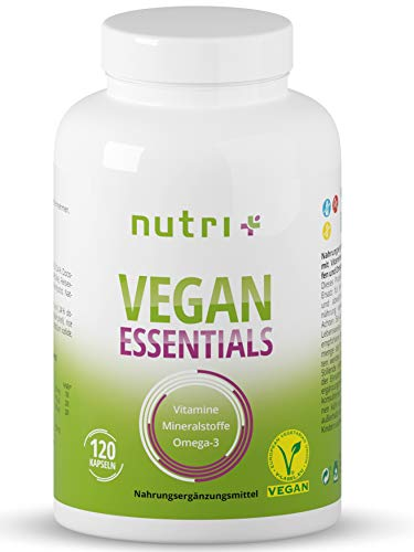 Vegane Vitamine & Mineralstoffe - Vitamin-Kapseln Vegan Essentials - Complete Präparat für Veganer - Nutri-Plus Daily Multivitamin mit Vitamin B12, D3, Eisen, Selen, Omega-3