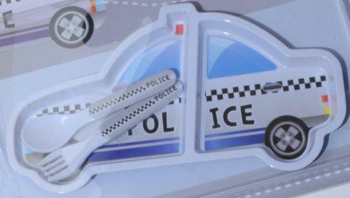 Set Plateau Repas et Couverts Enfant Design Voiture de Police