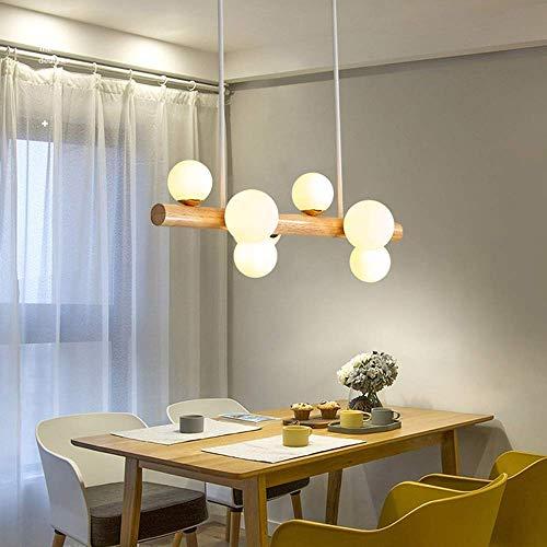 Living Equipment 3000K Lámpara LED Marco de suspensión Lámpara colgante de madera Lámpara colgante rústica Candelabro Lámpara de techo Accesorios Colgante Comedor Altura ajustable Sala de estar / D