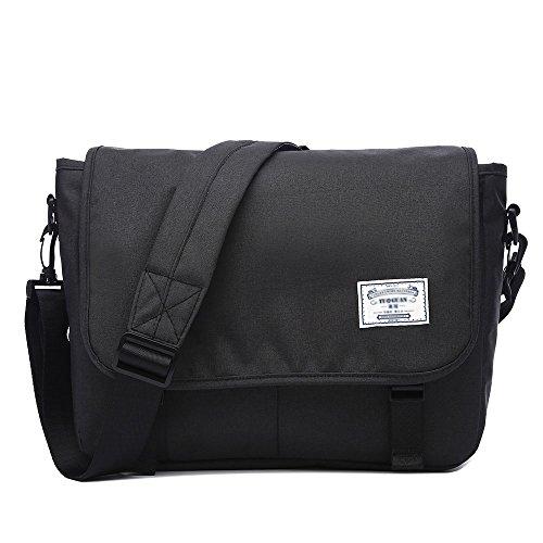 Neuleben Schultertasche Herren Damen Wasserabweisend Leicht Umhängetasche Messenger Bag passt 13.3 Zoll Laptop für Schule Fahrrad Freizeit (Schwarz)