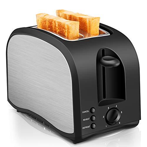 2 Slice Toaster CUSINAID Black Wide Slot Toaster 2...