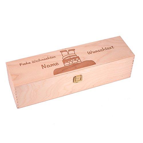 Herz & Heim® Weinverpackung zu Weihnachten aus Holz mit Gravur des Namens und Wunschtext
