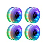 Roller Skate Wheels Outdoor Light Up LED Quad Rainbow Rollerskate Parts Tool Wheels,4 Pack...