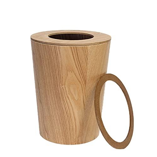 Mqing Cubo de basura redondo de madera, 9 litros, cubo de basura con tapa, para oficina, cocina, salón, estudio, papelera – D 23 cm H 30 cm B 19 cm A