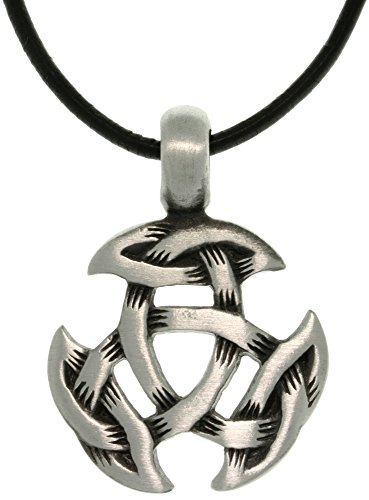Jewelry Trends Celtic Crescent Knot Pewter Pendant Necklace 18' Leather Cord