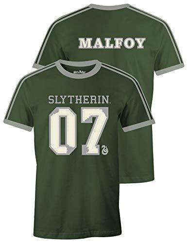 Harry Potter Herren T-Shirt Slytherin Quidditch Sucher 07 Draco Malfoy Baumwolle grün - M