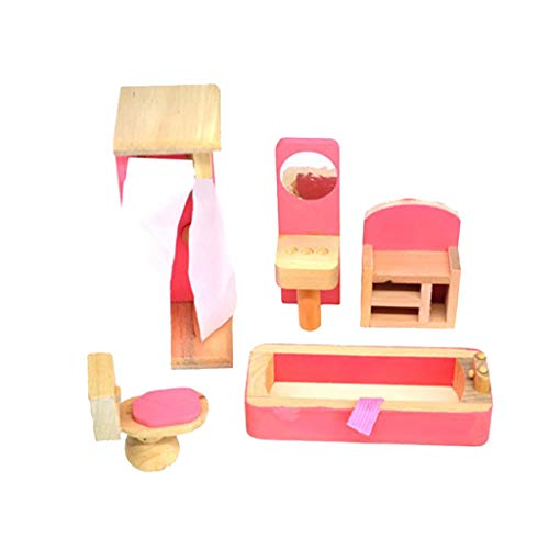 Wooden Doll House Furniture Bathrooom Set with Accessories for Dollhouse