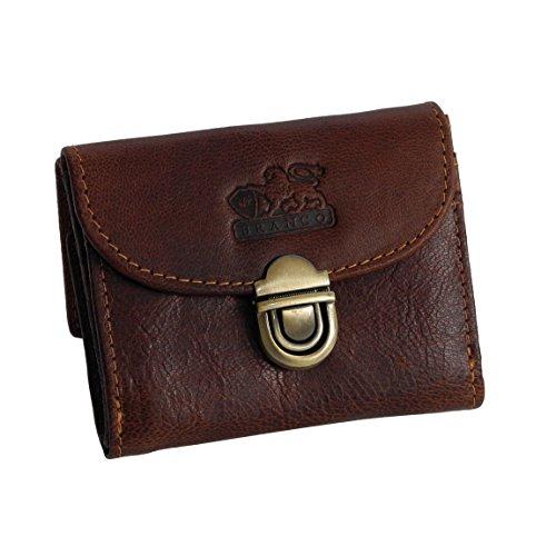 Branco Leder - kleine und sehr feine Mini Leder Damen Geldbörse, Portemonnaie, Ladys Wallet mit Kartenfächern verfügbar - präsentiert von ZMOKA® (Braun)