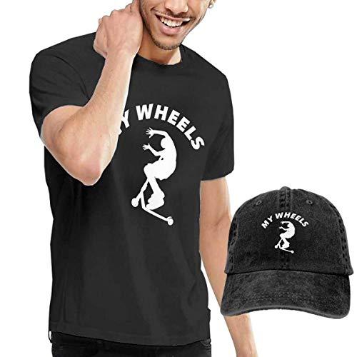 Kick Scooter Herren Rundhals Kurzarm T-Shirt und Cowboyhut, 6XL