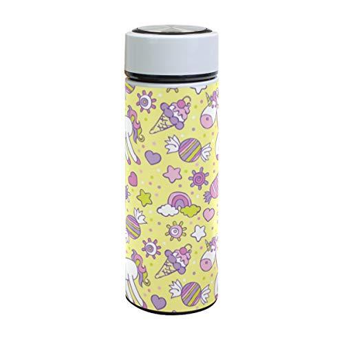 Emoya Botella de agua de acero inoxidable de 500 ml, diseño de unicornio con corazones y círculos, aislada al vacío, sin BPA, a prueba de fugas, doble pared, boca ancha para bebidas frías y calientes, 17 onzas