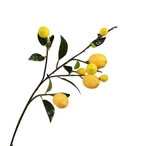 kgjsdf, ramo di limone artificiale, ramo di limone finto da 36 cm, con foglie verdi, accessori decorativi per la casa, matrimoni e feste, Schiuma+filo di ferro+plastica., Giallo, 92cm/36inch