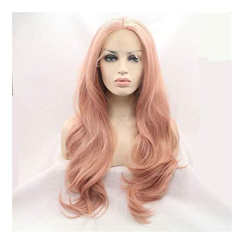 WUX Perruques Longue Perruque Vague bouclée Cheveux, Haute température Chimique Fibre Silk Lace Front Perruque, Easy Care, 26 Pouces (Color : Pink)