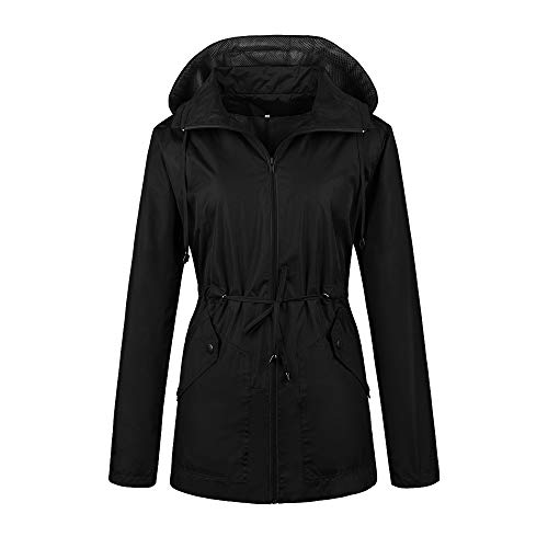Daxvens Rain Jacket Women Hooded Zip Up Athletic Sport Coat Black S