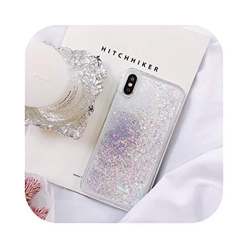 Funda de teléfono con purpurina para iPhone X XR XS 11 12 6S 6 7 8 5 5S SE 2020 Plus Mini Pro MAX Dynamic Liquid Love Heart Quicksand Cover - Blanco para iPhone XS
