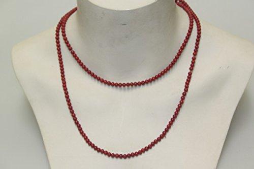 Collana lunga con perle di vetro, colore corallo, originale anticato, colore rosso intenso